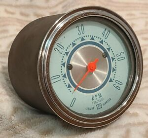 Stewart Warner 3 3 8 Twin Blue 6000rpm Electric Tachometer Gauge 1962 Rare