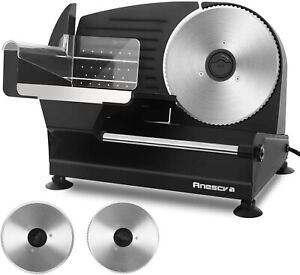 Anescra Electric Meat Slicer 200w Two Removable 7 5 Stainless Steel Blades