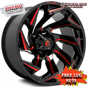 Fuel Off road D755 Reaction Gloss Black Milled Red Tint 20 x9 Wheels Rims 4