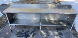 96 X 24 Stainless Steel Kitchen Cabinet Work Prep Table 8 X 2 Used M e Mfg