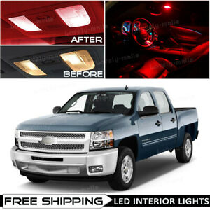 13 X Red Interior Map Led Lights Package For 2007 2013 Chevy Silverado tool O5