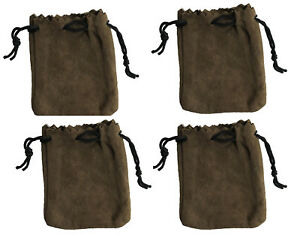 4 Brown Genuine Suede Leather 3 Drawstring Pouch Bag Jewelry Coin Renaissance