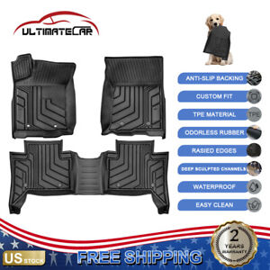 Black Tpe Rubber Floor Mats Liners Set For 2016 2021 Toyota Tacoma Double Cab