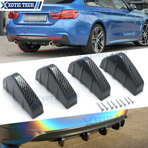 Shark Fin 4 Wing Rear Lower Bumper Lip Diffuser Splitter Spoiler Carbon Fiber