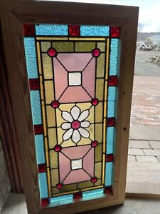 Sg3655 Antique Jeweled Transom Window Stained Glass 18 X 34 5