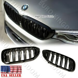 For 17 19 Bmw 5 series G30 M550i F90 M5 Dual Gloss Black Kidney Grille Grill