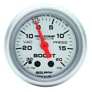 Autometer Gauge Vac boost 2 1 16 30inhg 20psi Mechanical Ultra lite