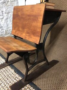 Antique Child S School Desk On Wood Runners With Metal Photo Prop Plant Stand