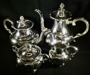 4 Pc Handarbeit Sterling Silver Tea Coffee Set With Rose Bud Accents