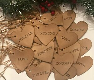 30 Heart 1 3 4 Valentines Words Coffee Stained Primitive Gift Hang Tags Lot