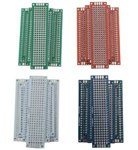 4 Double Sided Universal Pcb Proto Board 2x8 3x7 4x6 5x7 Cm Green Red White Blue