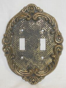 Vintage 7244 Double Switch Plate Cover Metal Ornate Metal Wall Hardware Decor