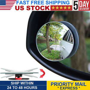 2 Pack Blind Spot Mirror 2 Round Hd Glass Frameless Convex Rear View Mirror
