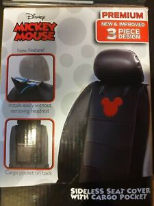 Mickey Mouse Premium Seat Cover Ultimate Fit 3 Piece With Cargo Pocket