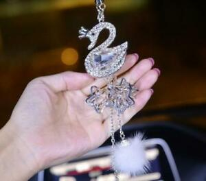 New Crystal Swan Auto Mirror Pendant Car Interior Jewelry Decor Hanging Ornament