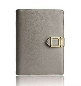 New Leather Agenda Planner Grey W snap Closure Weekly Monthly Perpetual Calendar