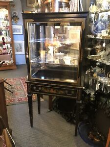 1960s Hand Painted Wood 2 Piece Chinoiserie Display Case Cabinet