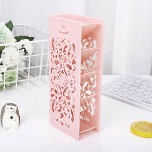 Hollow Table Organizer Carved Desk Storage Shelf Container For Home Office Pink