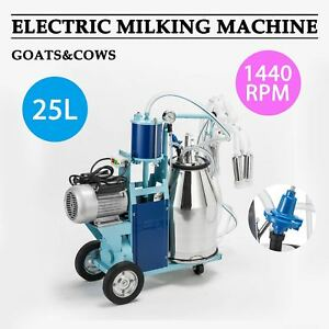 6 6gal Stainless Steel Electric Milking Milker Machine Goats Cows 2 Plugs Dsu