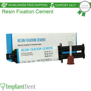 Dental Resin Fixation Cement Dual Cure Radiopaque Permanent Luting Glue Shades