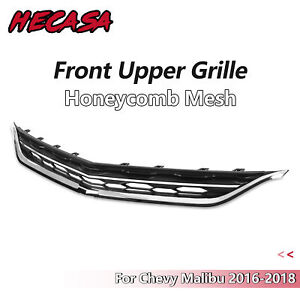 For Chevy Malibu 2016 2017 Honeycomb Mesh Chrome Front Bumper Upper Grille
