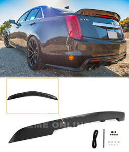 Abs Plastic Spoiler For 16 19 Cadillac Cts v Trunk Wing Carbon Package Style New