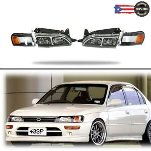 Headlights Corners Lights W led Drl Set For 93 97 Toyota Corolla Jdm Dx Style