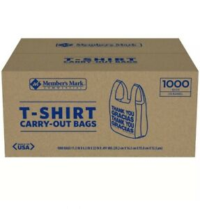 1000 Large 1 6 Thank You T shirt Plastic Grocery Shopping Bags With Handle