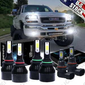 6 Led Headlight Fog Light Bulbs Combo For Gmc Sierra 1500 2500 Hd 3500 2001 2006