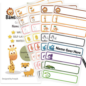 Bambooscout Baby Bottle Labels For Daycare school Waterproof Write on Animal