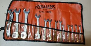 Vintage Williams 14 pc Short Open End Angle Wrench Set W Pouch 1142pr Usa