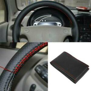 Us 38cm Car Truck Leather Steering Wheel Cover With Needles Thread Black Red