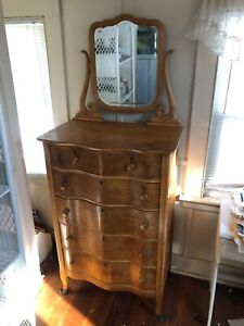 Antique Vintage Wood Victorian Narrow 6 Chest Of Drawers With Mirror
