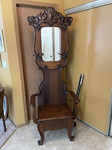 Victorian Oak And Bevelled Mirror Hall Tree With Seat Storage And Umbrella Stand