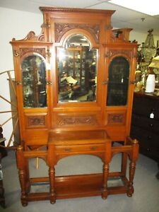 Late 1800 S English Oak Victorian Edwardian Carved Hall Tree Umbrella Stand