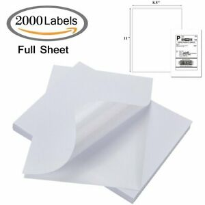 2000 Full Sheet Shipping Labels 8 5x11 Blank Address Self Adhesive Laser Inkjet