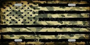 Camo American Flag Metal License Plate