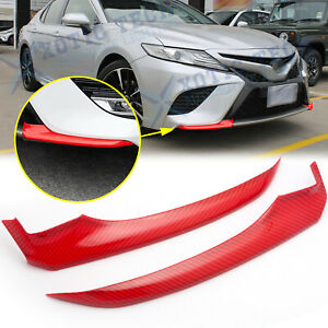 For Toyota Camry 2018 2019 Red Carbon Fiber Front Bumper Lip Corner Cover Trims