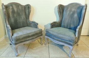 Pair Large Antique Vtg Painted Fabric Wood Frame Wing Back Arm Chairs
