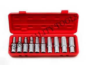 10pc 1 2 Dr Female E Star Deep Socket Torx Auto Tool E10 E24 With Case