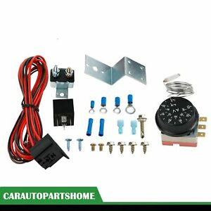 Adjustable Electric Radiator Fan Thermostat Control Relay Wire 12v Kit Car Truck