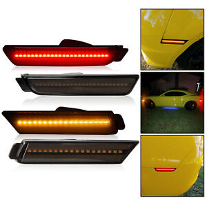 For Chevy Camaro 2010 2015 Front Rear Led Bumper Side Marker Light Lamp Smoked