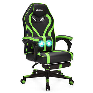 Gymax Massage Gaming Chair Racing Recliner Computer Desk Office Chair Armchair