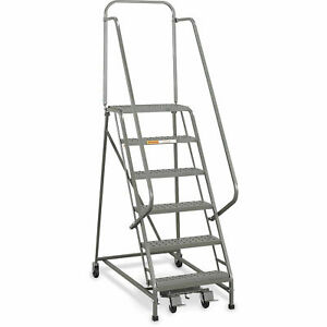 Ega L026 Industrial Rolling Ladder 6 step 26 Wide Perforated Gray 450lb