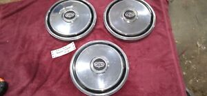 Vintage Set Of 3 1970 s Ford mercury Dog Dish Hubcaps 10 1 2 Inch