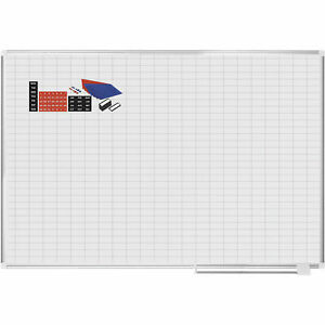 Mastervision Magnetic 1x2 Grid Planner W kit White 72 X 48