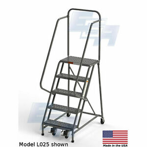 Ega L025 Steel Industrial Rolling Ladder 5 step 24 Wide Perforated Gray 450