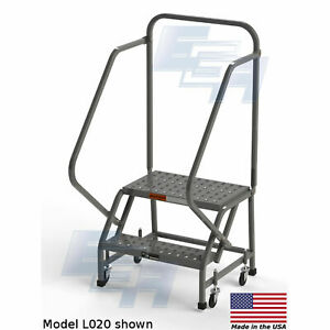 Ega L020 Steel Industrial Rolling Ladder 2 step 24 Wide Perforated Gray 450