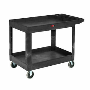 Rubbermaid Commercial Heavy duty 2 Shelf Utility Cart Ergo Handle Lipped