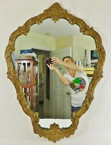 Large Antique Vtg 36 Ornate Gold Wood Gesso Flowers Hanging Wall Mirror